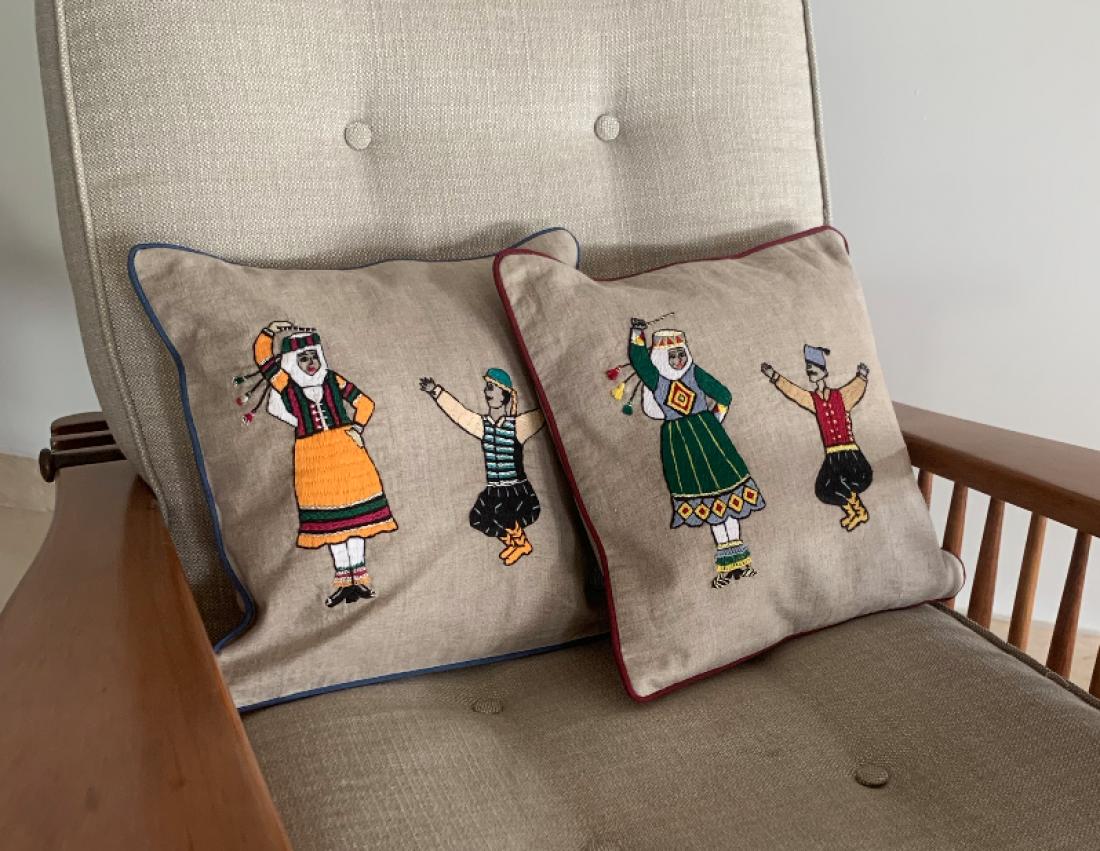 Farah Dabke' Hand-embroidered Fine Linen Cushion