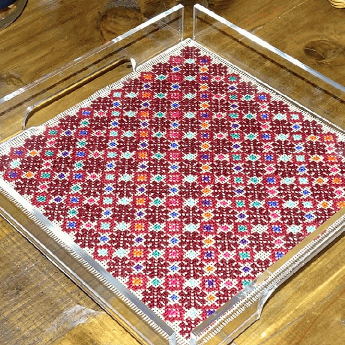 Plexi square small Tray w/ Hand-Embroidered Insert