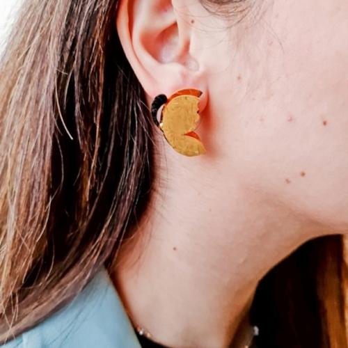 Mini Butterflies Handmade Gold-Plated Earrings