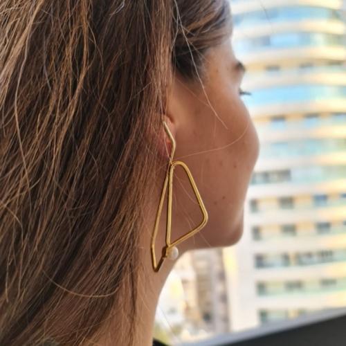 Geo Pearl Handmade Gold-Plated Pierced Earrings