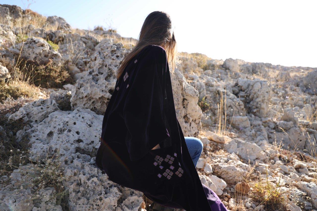 Velvet Embroidered Long Jacket