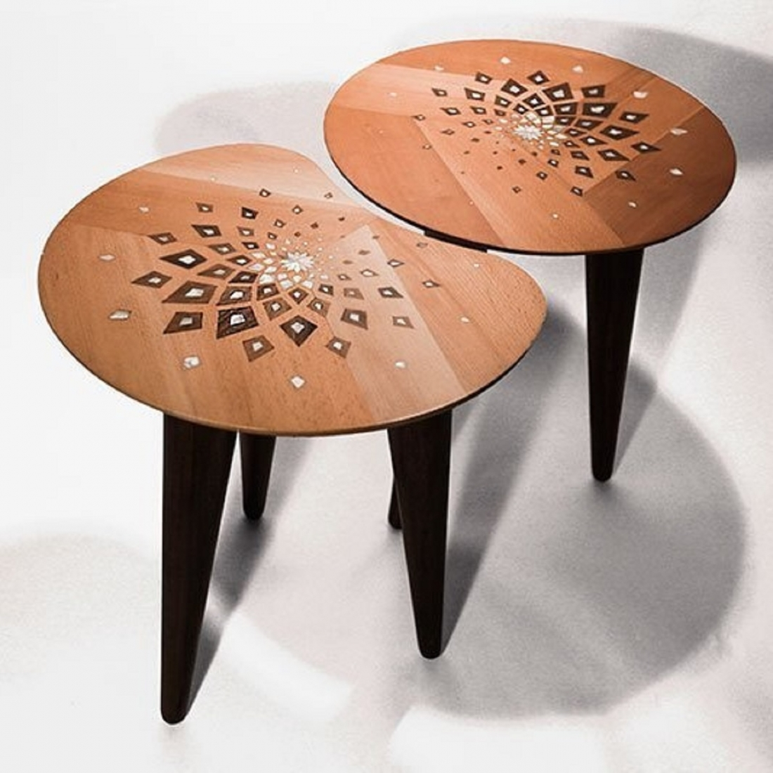Harmonic Amoeba Design Set of 2 Walnut Tables