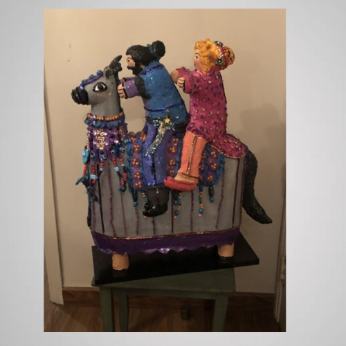 Abla and Antar on a Horse Paper Mache Sculpture