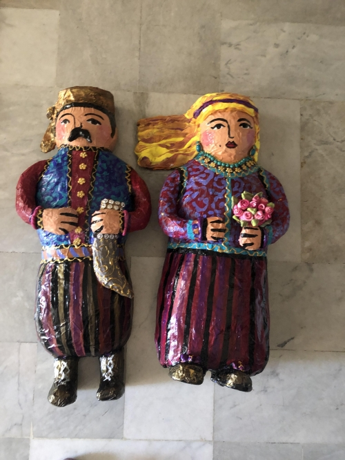 Antar and Abla Paper Mache hanging figures
