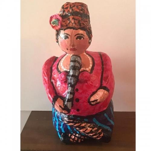Paper Mache woman singer Sculpture