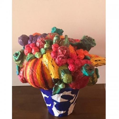 Paper Mache Bowl of Fruit Sculpture
