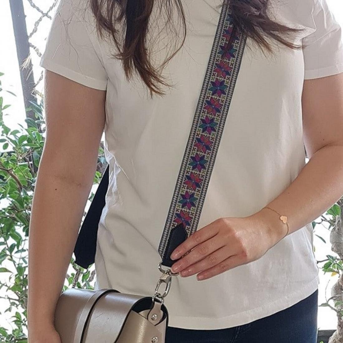 Blue Hand embroidered bag strap