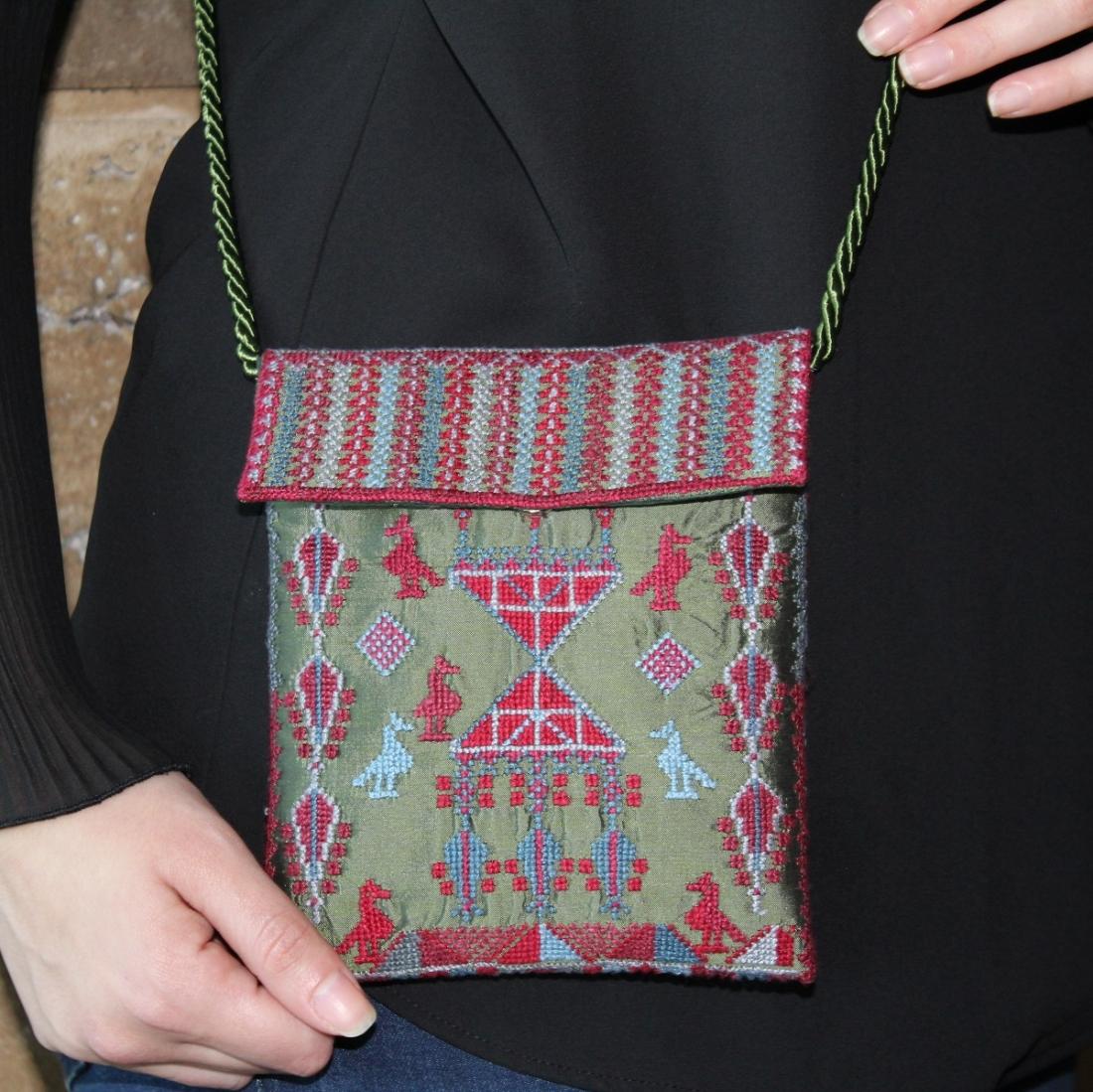 Silk BirdBag drawstring Embroidered bag