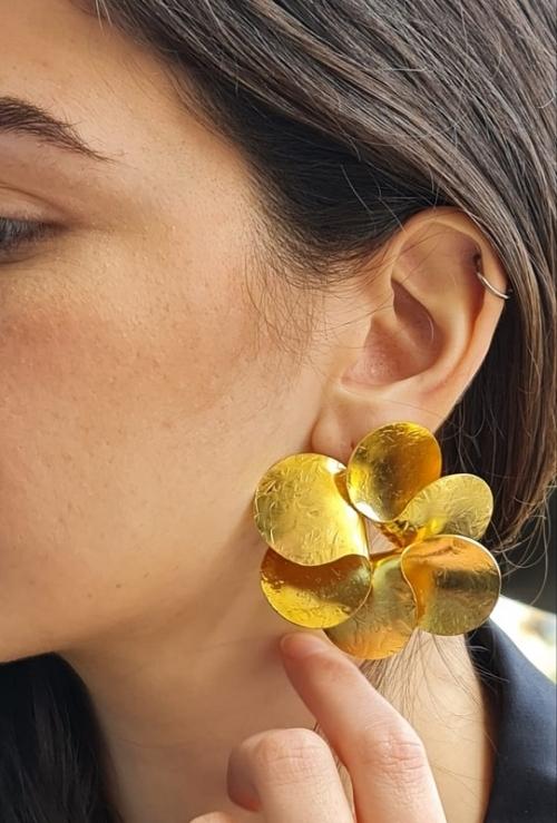 Pinwheel Handmade Gold-Plated Earrings