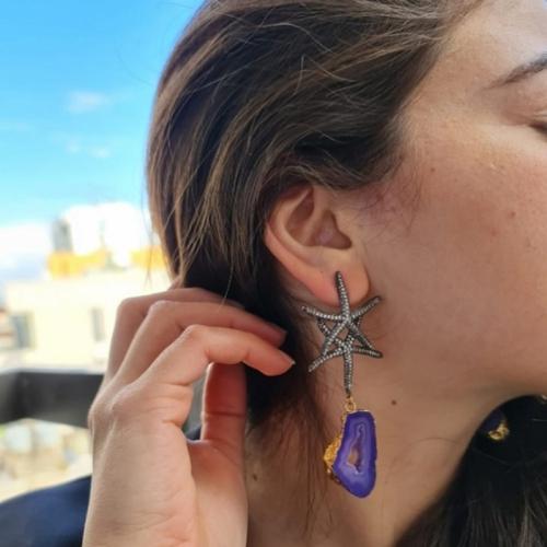 Starfish Duo W/Druzy Earrings
