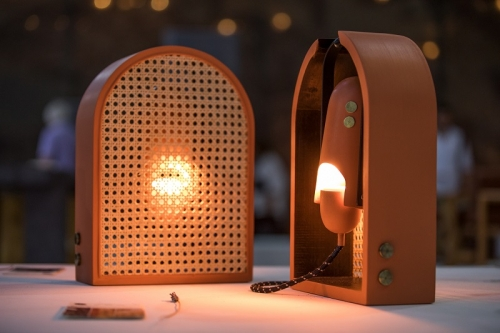 Ndeel Movable Wood and Natural Rattan Light