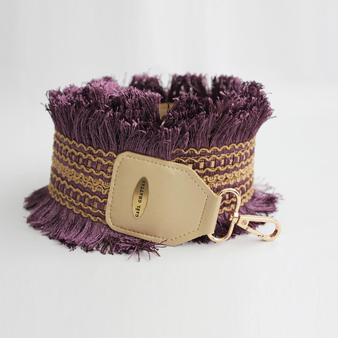 Purple & Gold Boho Fabric Crossbody BAG STRAP