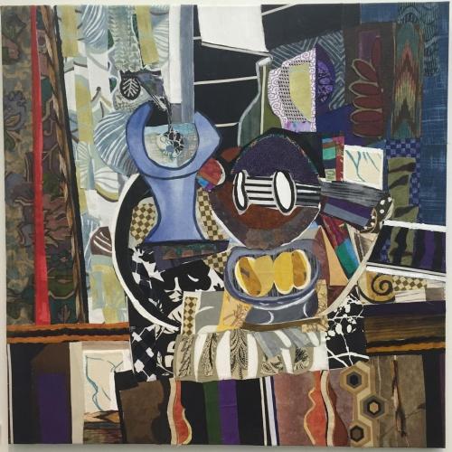 Guitar and Vase Still Life Mixed Media Artwork