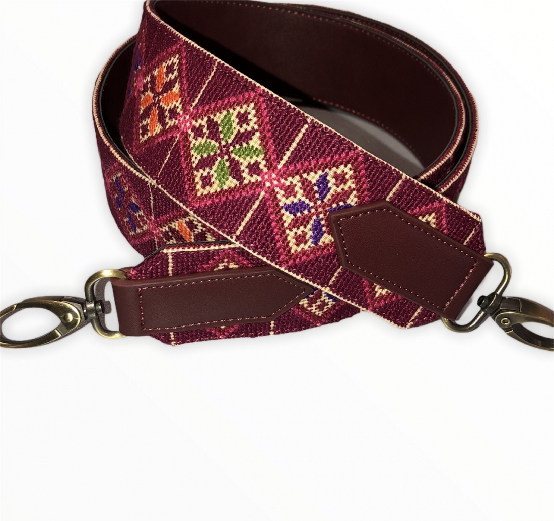 Red Heritage Hand embroidered bag strap
