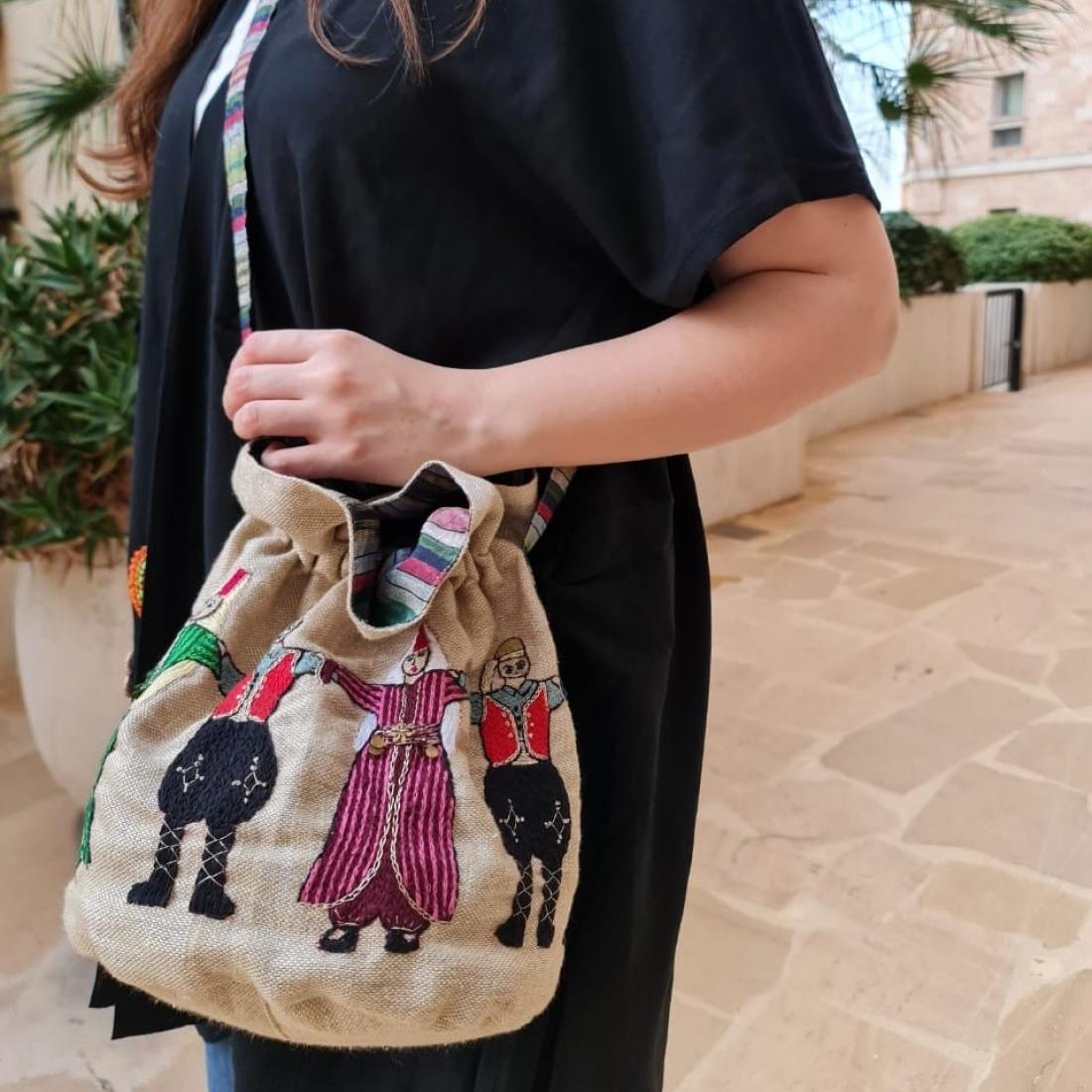 Bokja Beige Bag Hand embroidered Dabke figures