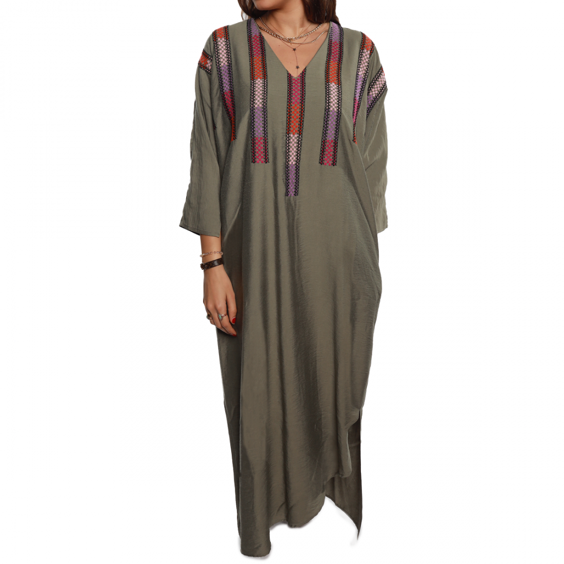 Olive hand embroidered Cotton Summer Caftan