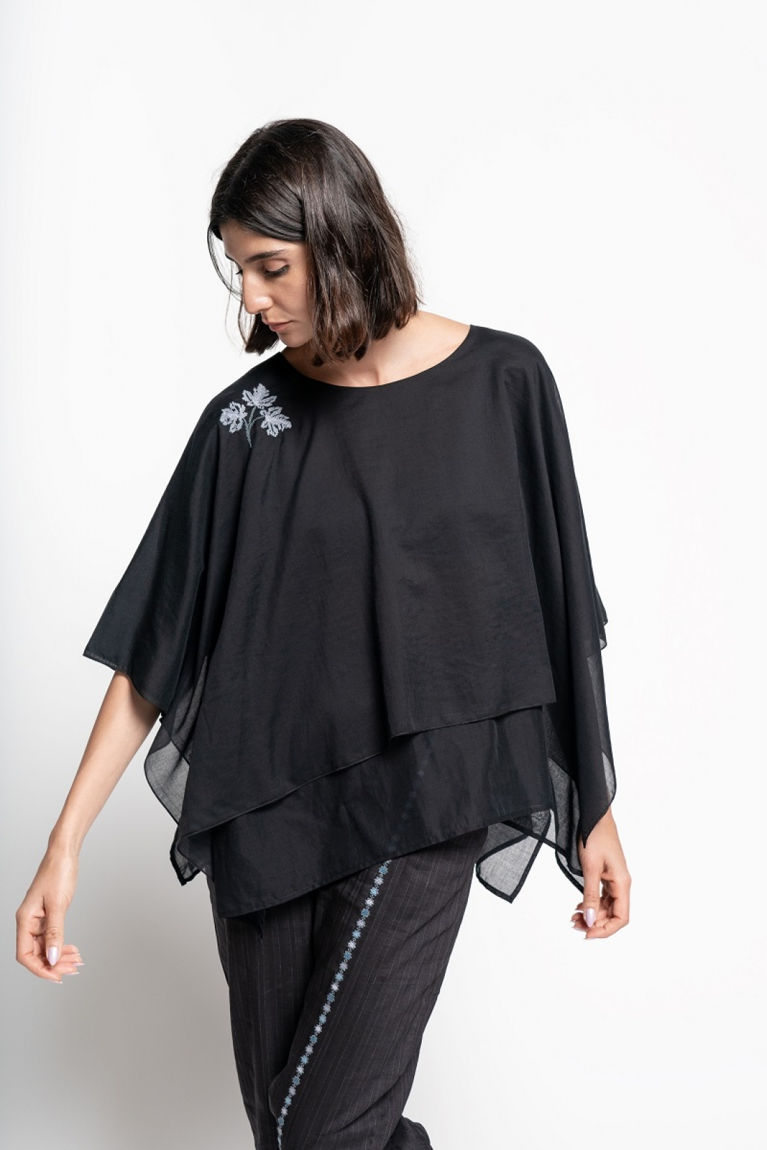 Double Flared Hand embroidered Black Top