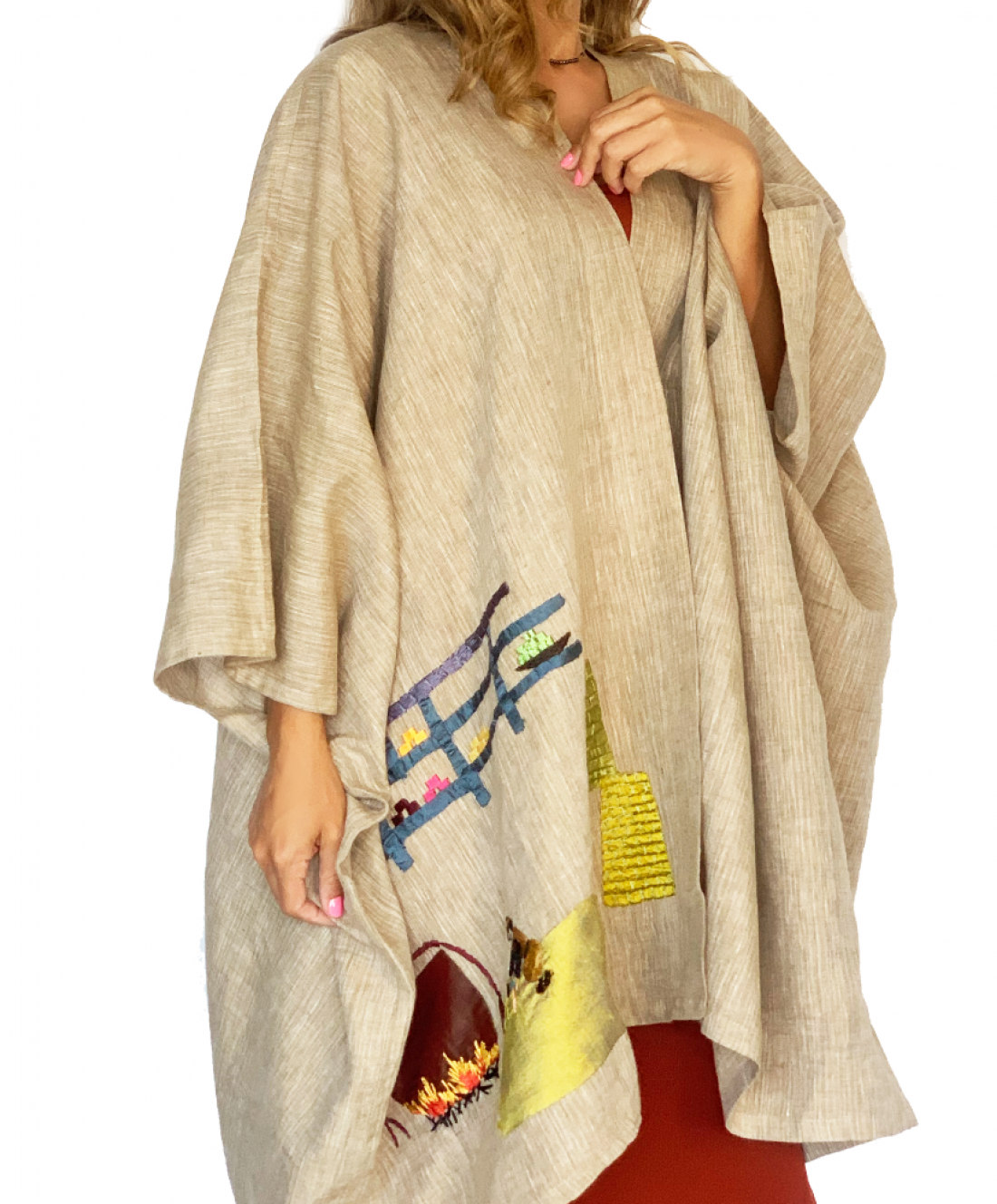 Folk Linen Hand embroidered Abaya