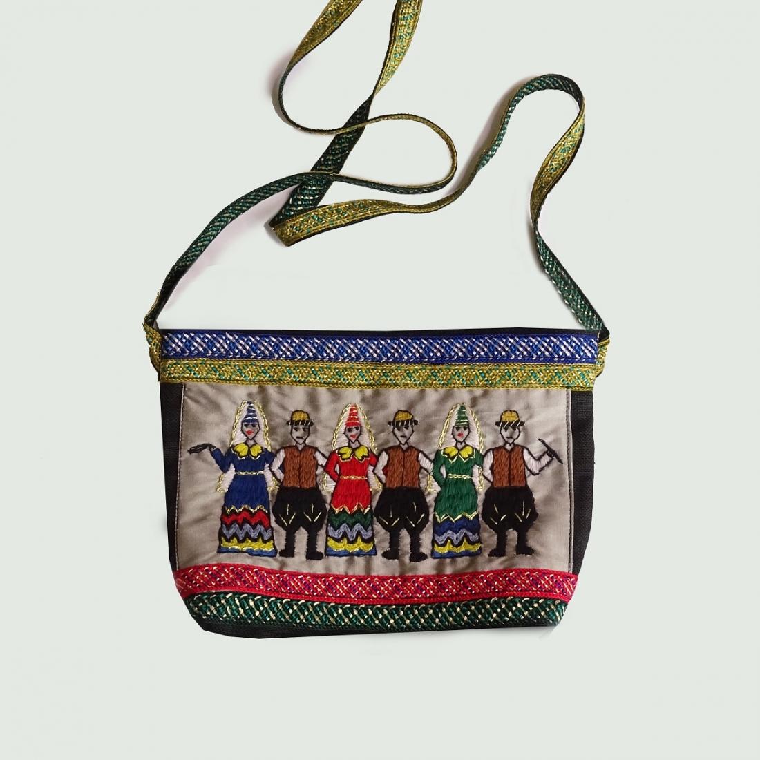 Golden Dabke' linen hand embroidered Shoulder Bag