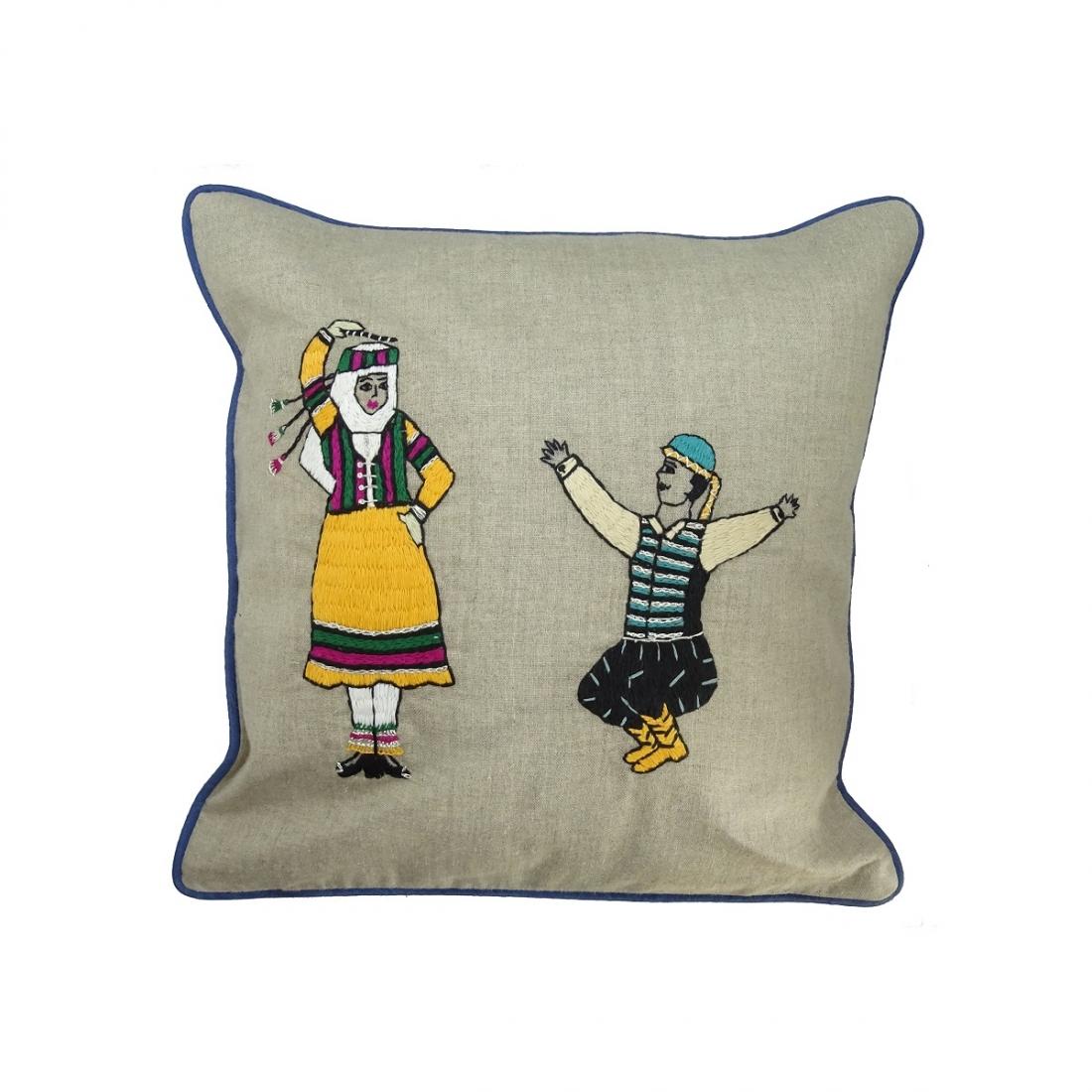 Ghazal Dabke' Hand-embroidered Fine Linen Cushion