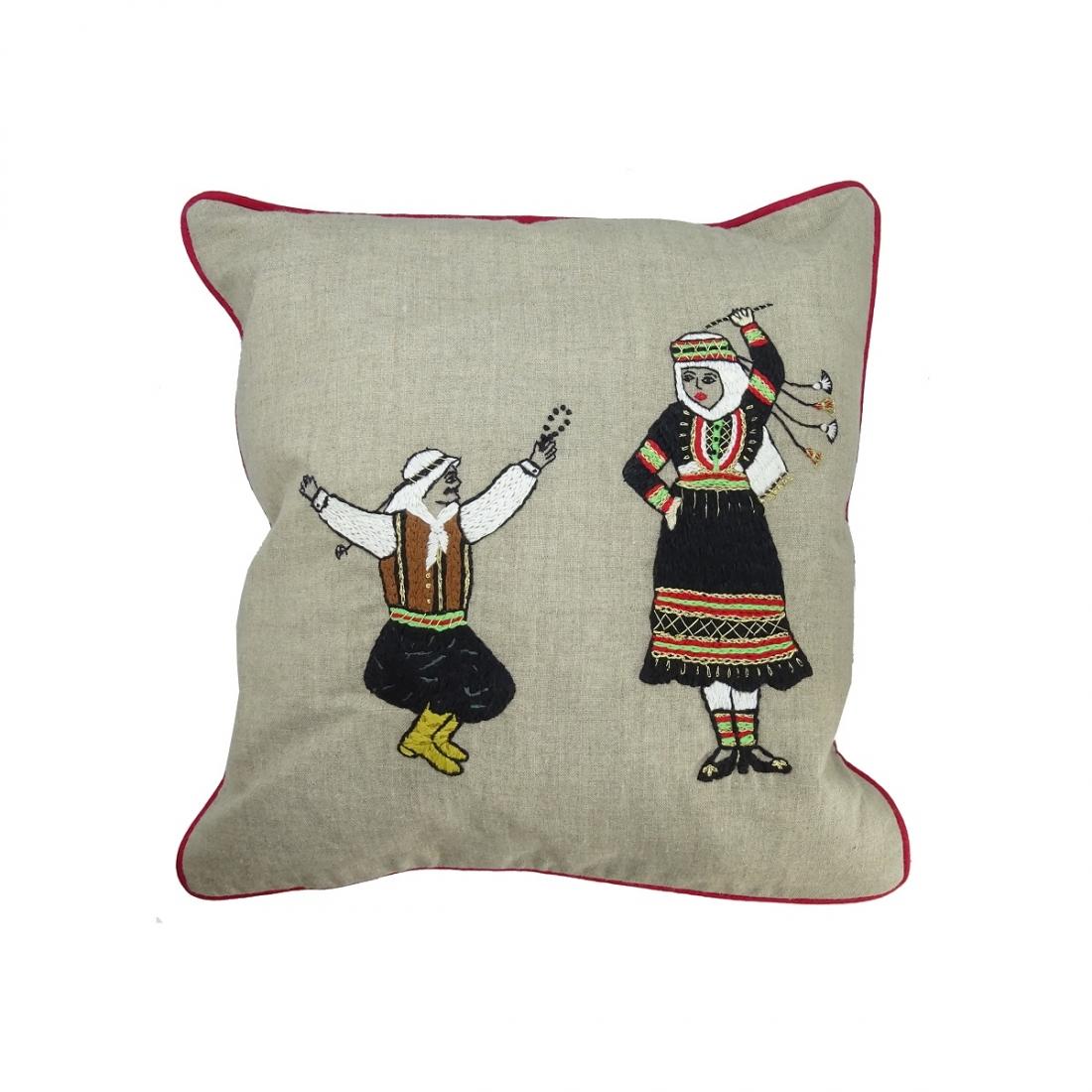 Shamaly Dabke' Hand-embroidered Fine Linen Cushion