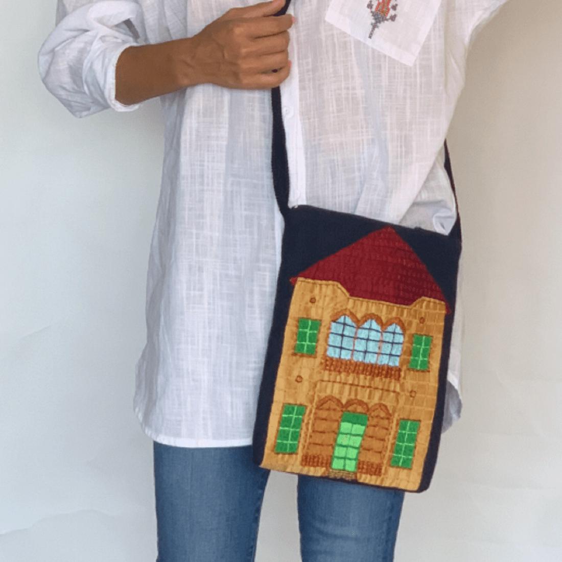 Beit Lebanese House Linen Hand embroidered side bag