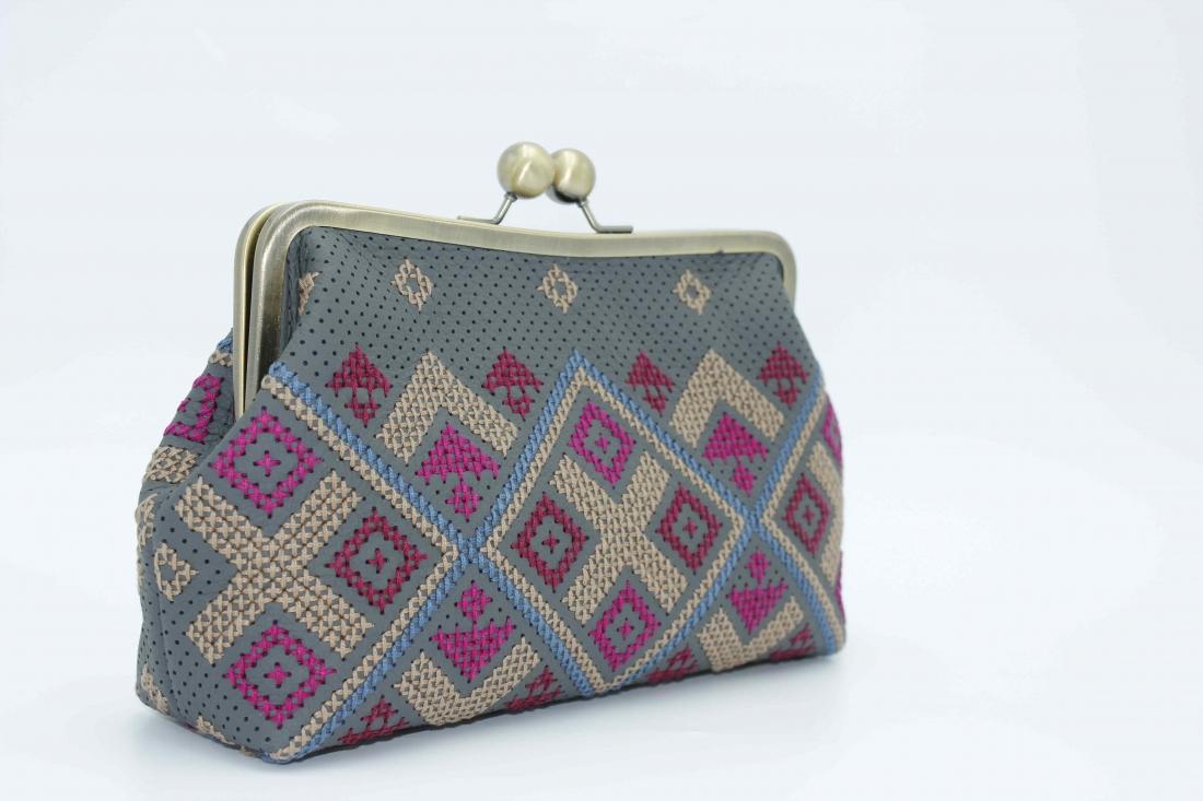 Hand-embroidered Leather grey handbag