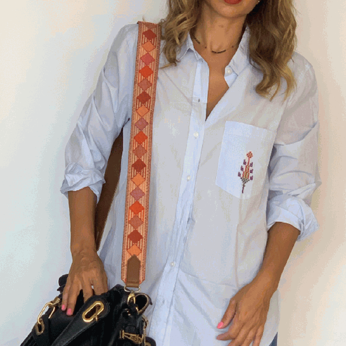 Blue Wealth hand embroidered Cotton Shirt