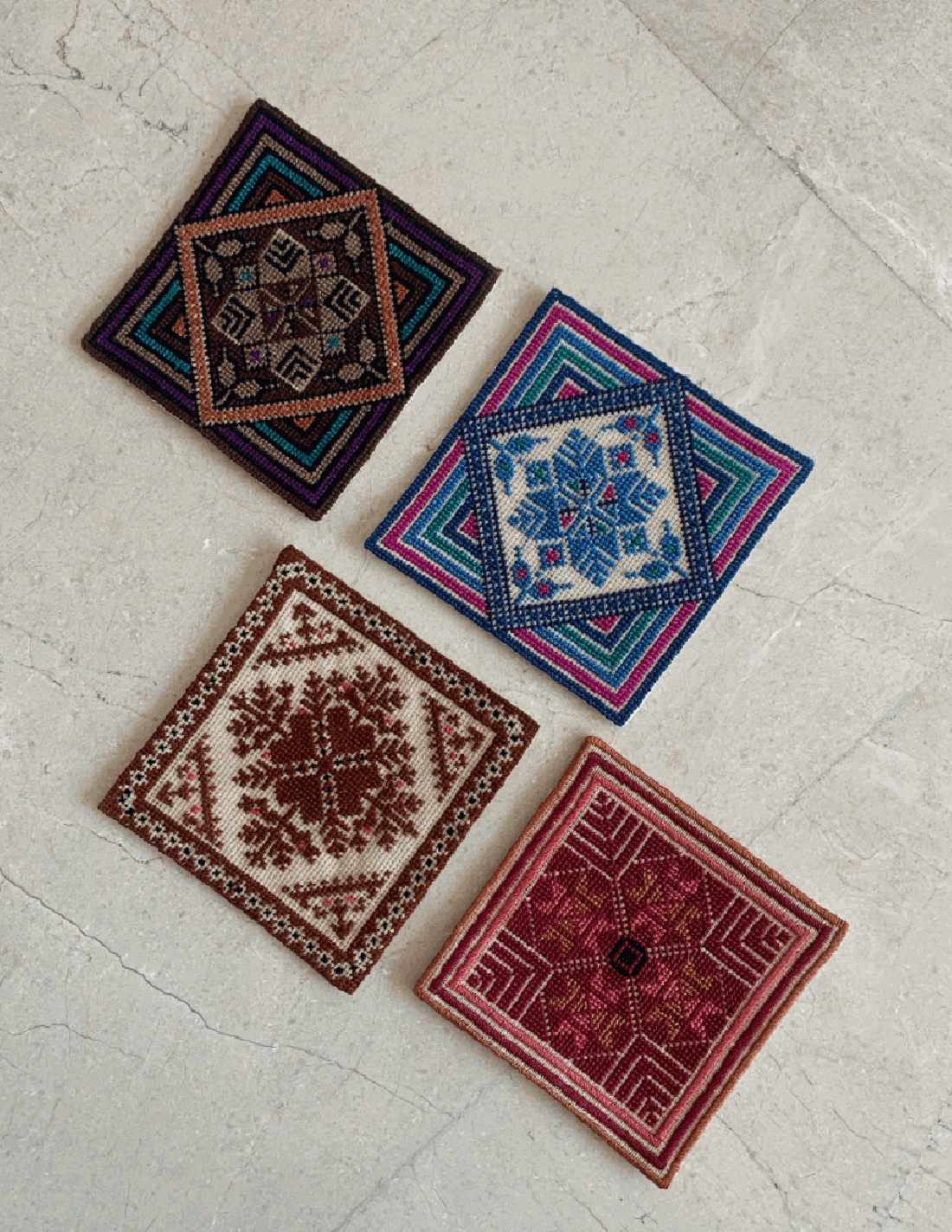 Hand Embroidered Canva Coasters
