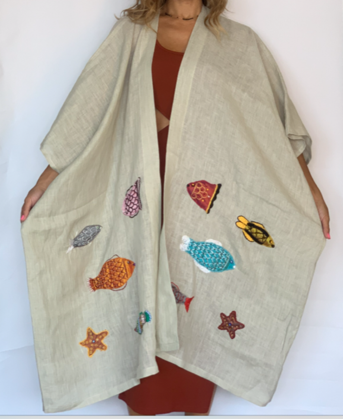Fish handmade embroidered linen Abaya