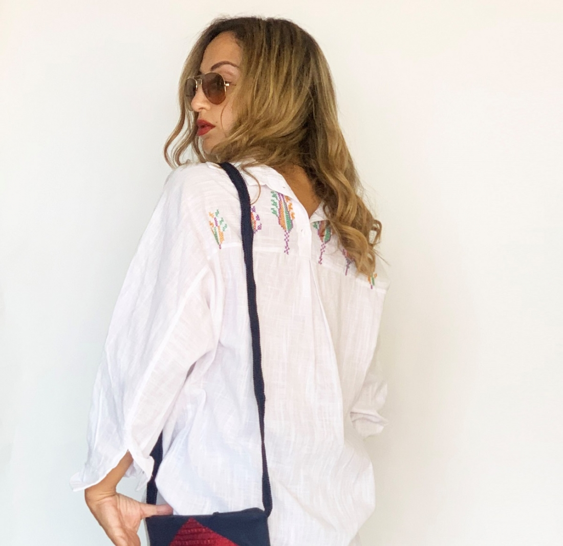 White Wealth hand embroidered Cotton Shirt