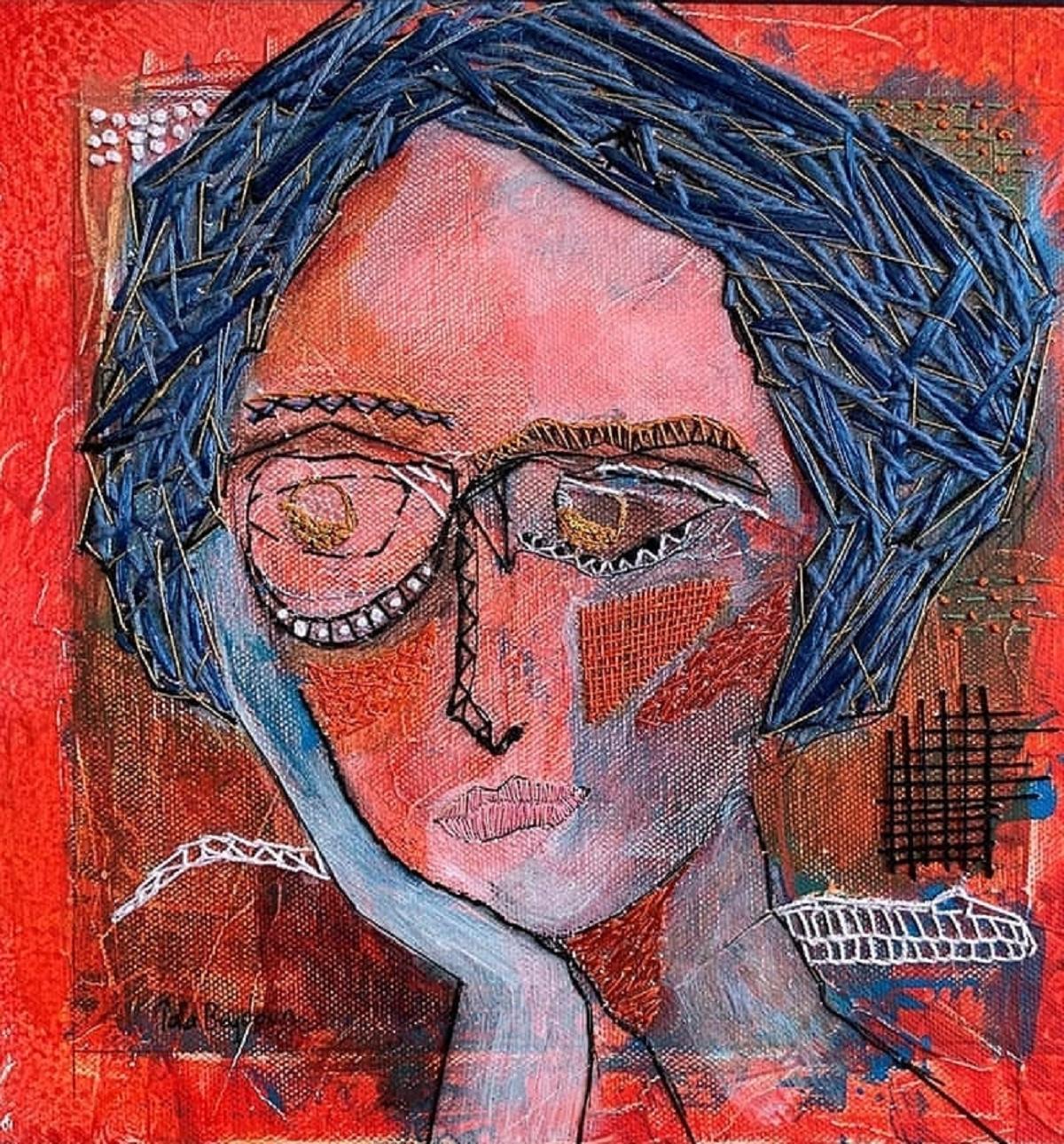 Heartbreak Mixed Media Embroidery Acrylic Painting